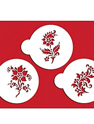 FOUR-C Coffee Stencils Flower Stencils Color White,3PCS/Set ST-315