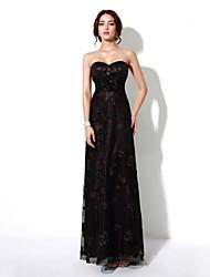 Formal Evening Dress - Dark Green / Gold / Grape A-line Strapless Floor-length Lace
