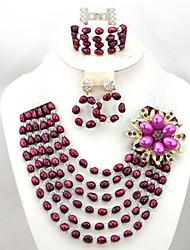 Latest Design African Wedding Beads Jewelry Set Bridal Necklace Bracelet Set AC054