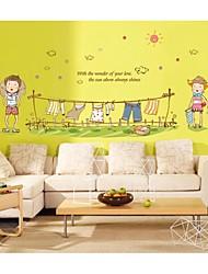 decalques de parede adesivos de parede, roupas de estilo crianças pvc desenhos animados adesivos de parede