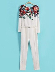 Women's White Jumpsuit,Print Casual
