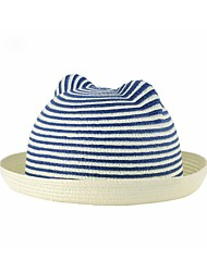 Unisex Kid Striped Ears Rolled Brim Straw Hat (More Colors)