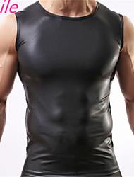 Männer sexy Weste Kunstleder einfarbig schwarzen männlichen Trägershirts Unterwäsche schlank Verschleiß sm L XL geben Verschiffen frei