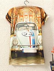 Women's O-Neck 2015 New Fashion Funny Summer HOT Sale Retro Classic Cars Print 3D T shirt(Cotton Blends)