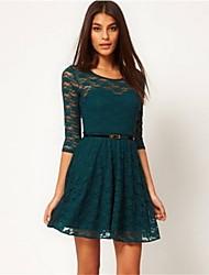 Hi Girl Women's Newest Lace Long Sleeve Slim Dress