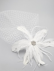 Wedding Veil One-tier Veils for Short Hair / Headpieces with Veil Raw Edge 10-20cm White White