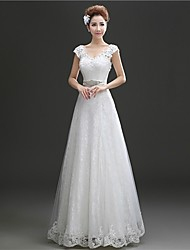 A-line Wedding Dress Floor-length Scoop Lace with