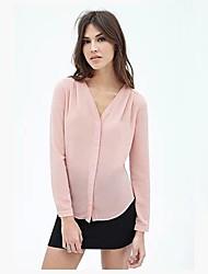 Women's V-Neck Chiffon Long Sleeve Blouse