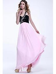 Formal Evening Dress - Multi-color Plus Sizes / Petite A-line One Shoulder Floor-length Chiffon