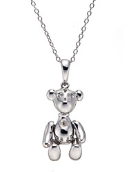 """Fashion Solid 925 Sterling Silver Cubic Zirconia Cz Bear Pendant Necklace 18"""""""