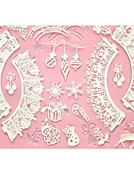 FOUR-C Cake Baking Mat Lace Mat Silicone Cake Mold for Decoration,Silicone Mat Fondant Cake Tools Color Pink