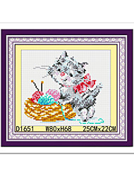 Cat Products For Crafts Living Room Diamond Cross Stitch Needlework Wall Home Decor 22*25cm