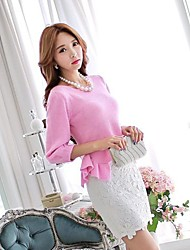 DABUWAWA Women's Pink/White/Black Skirts , Bodycon/Casual/Lace/Work Above Knee