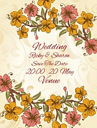 Personalized 50pcs/Lot 19cm x 16cm Wedding Invitations Orange Yellow Flower Save The Date Paper Card