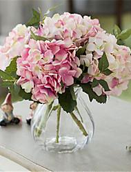 três luz com dois hygrangeas cor profunda artifical flores com vaso