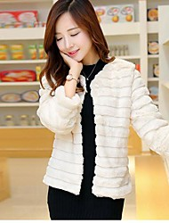 Women's Rabbit Fur Sweet Grass Type Leather Jacket