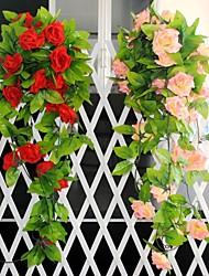 """Wedding Décor  Decoration Artificial Flowers 98.4""""L Roses Rattan 1 Piece Plastic/Silk"""