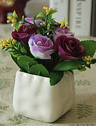 roxo flores rosa artificial com vaso