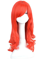 Angelaicos Womens Princess Ariel The Little Mermaid Red Curly Long Halloween Party Costume Cosplay Hair Full Wig