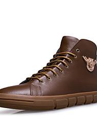 Men's Boots Comfort Leather Casual Black Khaki