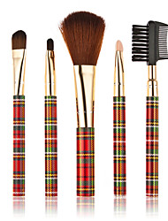 5pcs Checks Drilled Style Professional Make-up Brushes Red