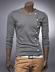 Men's Long Sleeve T-Shirt Inclined Buckle Decoration