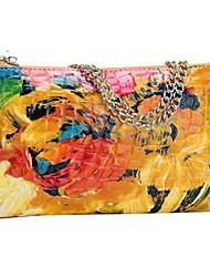 MEGA Women's Genuine Flowers Patent Leather Handbag Clutch bags Messenger Bag Shoulder bags