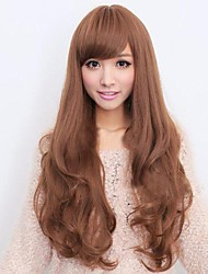 Fashion big wave golden brown inclined bang curly hair