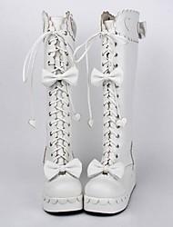 blanco pu cuero zapatos de plataforma 6cm dulce lolita