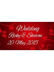 Personalized Wedding Product Labels Flower Pattern Red Film Paper