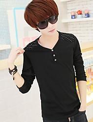 Men's Long Sleeve T-Shirt , Cotton Casual/Plus Sizes Pure