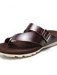 Men's Shoes Leather Casual Sandals Casual Flat Heel Black / Brown