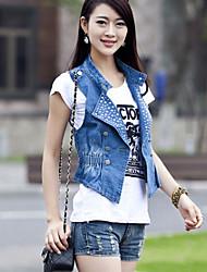 Women's Blue/Black Denim Top , Casual Sleeveless