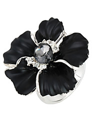 Arinna Large Black Flower Clear Crystal Cocktail Rings Gift 18K White Gold Plated J0605