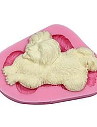 3d pêlo longo fondant cão molde do bolo de decoração sm-415