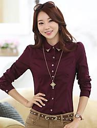 bs®women Casual unelastisch Langarm regelmäßigen Shirt (Baumwolle)