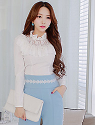 Women's Bodycon/Lace/Work  Ruffles Stand Collar Long Sleeve Medium Tops & Blouses (Elastic/Polyester)