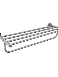 Minimalist Stainless Steel Towel Rack with Bottom Towel Bar, Brushed Steel