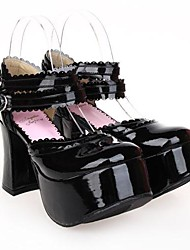 Lolita Shoes Punk Lolita Lolita High Heel Shoes Solid 9.5 CM Black For Women PU Leather/Polyurethane Leather