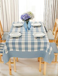 "Light blue plaid Table Cloth, Polyester 51""x70"", 55x94"""