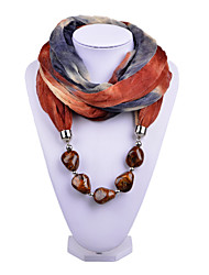 D Exceed   Women Delicate Infinity Ring Fashion Scarf with Dark  Brown Irregular Brush Painting Beads Pendant Scarfs