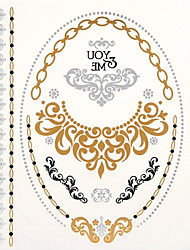 1PC New Metallic Gold Tattoos Temporary Tattoos Flash Tattoos Gold Necklace Wedding Party Tattoos(24*21.5cm)