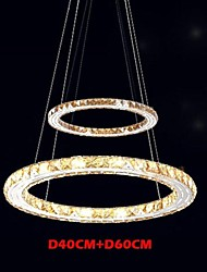 LED Ceiling Pendant Light Lighting Lamps Modern Fixtures Amber K9 Crystal Round 2 Rings 40CM Plus 60CM