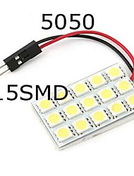 2pcs 15SMD 5050 White Light 12V LED Reading Panel Car Interior Dome Light