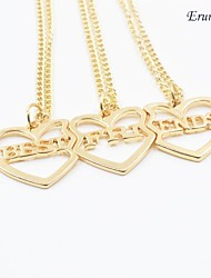 "Eruner®Hot Fashion ""BEST FRIENDS"" Heart Pendant Necklace 3Pcs/Set Gold Chokers Necklace"