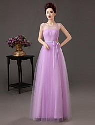 Formal Evening Dress - As Picture A-line Bateau Floor-length Satin