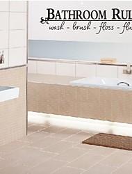 adesivos de parede decalques da parede, casa de banho governa palavras inglesas&cita parede pvc adesivos