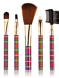 5pcs Checks Drilled Style Professional Make-up Brushes Rose Red