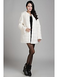 Fur Coats/Jackets Long Sleeve Faux Fur Jackets Light Pink
