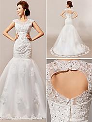 Vestido de Noiva Fit & Flare Transparente Cauda Corte Renda
